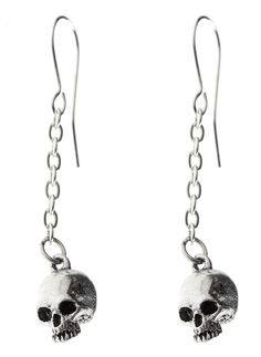A reminder of our impending mortality, the Deadskull Earrings from Alchemy of England are a great, high quality, statement piece that works with a variety of looks. This pair of small pewter jawless skulls are suspended from the top, on a fine chain with Gothic Rock, Punk Outfits, Alchemy, Ear Piercings, Pewter, Silver Plate, Plating, Jewelry Accessories, England