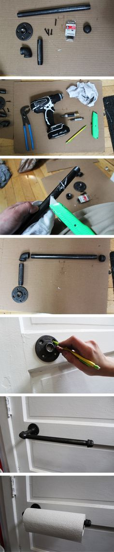 """Today's 15 minutes DIY project - Industrial Paper Towel Holder - only costs $12.87 (plus tax) to make.    Materials: From the 1/2"""" black pipe section at Home Depot - 90 degree elbow, 4"""" nipple, 12"""" nipple, floor flange, end cap - and any four wood screws you can find.    Tools: Drill, driver and drill bit, rag to clean grease off pipes, utility knife to scrape stickers off pipes, pencil to mark the wall, and pliers to tighten the pipes.    Questions: Tweet me @GrahamJohnston"""