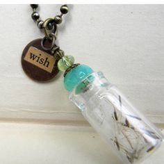 Necklace  Make A WIsh in Blue  Bottle Necklace With by Msemrick, $24.00 http://www.ecrafty.com/c-517-mini-glass-bottles.aspx?pagenum====pricedescending=60