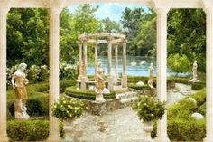 Fantastic garden of a Roman domus adorned with sculptures and columns, with a huge swan lake in the background. Miracle Garden, Invert Colors, Gazebo Pergola, 3d Wall Murals, Architecture Sketchbook, Hindu Deities, Patio, Fantasy Artwork, Beautiful Places
