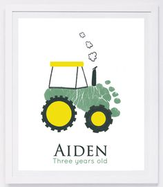 Footprint Art, Forever Prints. Tractor, New baby, Nursery wall art. Father's Day. Dad birthday, Farm nursery. Choose colors.
