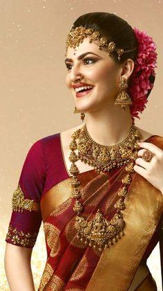 Bridal Hairstyle Indian Wedding, Indian Bridal Outfits, Indian Bridal Hairstyles, Indian Bridal Wear, Bridal Dresses, Bridal Sarees South Indian, South Indian Bridal Jewellery, Bridal Jewelry, Kerala Saree Blouse Designs