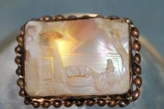 Antique Rose Gold Over Brass Hand Carved Shell Cameo Brooch w Tube Hinge | eBay