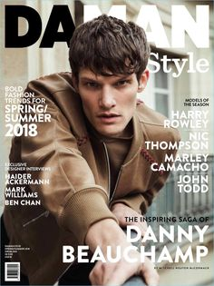 Danny Beauchamp is the man of the season as he links up with Da Man Style. The British model covers the magazine's spring-summer 2018 issue. Fashion Mag, Bold Fashion, Editorial Fashion, Mens Fashion, Editorial Design, Cover Male, Cover Boy, Magazine Cover Layout, Magazine Covers