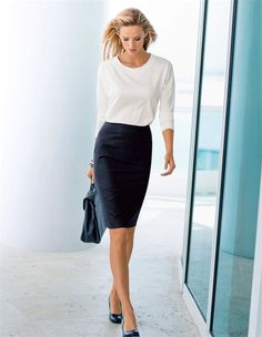 Style at its very best. This ultra-soft ceramica fabric impresses with its timeless, modern pin stripe pattern and exceptional comfort. #skirt #businessstyles #madeleinefashion