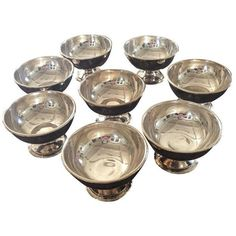 Ritz Carlton Silver Ice Cream Bowls- Set of 8 (39.875 RUB) ❤ liked on Polyvore featuring home, kitchen & dining, dinnerware, tabletop, silver dinnerware, silver bowl and ice cream bowl
