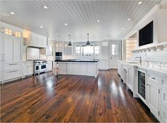 Cottage Kitchen Designed With Hardwood Floors And White Cabinets And Recessed Lighting In The Ceiling : Eco Friendly Hardwood Kitchen Flooring Home Design, Küchen Design, Floor Design, Design Ideas, Reclaimed Wood Floors, Grey Wood Floors, Wood Floor Kitchen, Kitchen Flooring, Open Kitchen