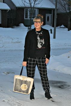 A Labour of Life blog for older fashion   Target window pane joggers and Johnny Cash Tee with moto jacket and kate spade popcorn bag