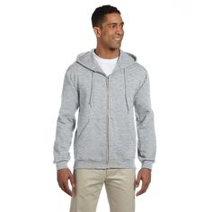 Men's Big and Tall 50/50 Super Sweats Nublend Fleece Full-Zip Ash Hood
