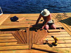 This article was originally published in the Early Summer 2016 issue of Cottage Life magazine. When Upper Harris Lake, Ont., cottager Ed Boekestyn built Lake Dock, Boat Dock, Deck Ideas Cottage, Cabin Decks, Hot Tub Deck, Waterfront Cottage, Lake Cabins, Cottage Design, Deck Design