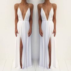 Charming Prom Dress,Split White Prom Dress,Chiffon Evening Dresses,Long