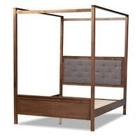 Natasha Modern and Contemporary Platform Canopy Bed - Overstock - 31227065 - King Brown Furniture, Large Furniture, Bed Furniture, Platform Canopy Bed, Bed Stand, Baxton Studio, Grey Bedding, Queen Beds