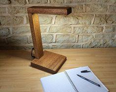 LED escritorio mesa de luz lámpara de la mesilla mano hecha a mano de sólida madera moderno abstracto rústico minimalista contemporáneo lectura oficina biblioteca