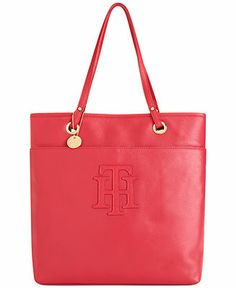 Tommy Hilfiger Handbag, TH Logo Patch Leather Tote  Web ID: 863474 5 / 5 5 reviews Reg. $188.00 Was $140.99 Sale $93.99