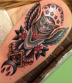 Best Old School Owl Tattoo