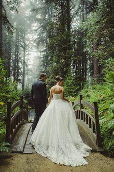 Forrest wedding. Wooden bridge.