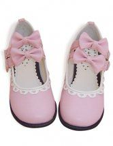 Pink Bow PU Flat Lolita Shoes
