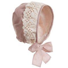 Baby Girls Ivory Toile Print Bonnet Hat , Nanos, Girl