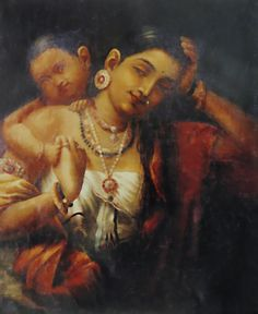 Yashoda and Krishna (Reprint on Paper - Unframed))
