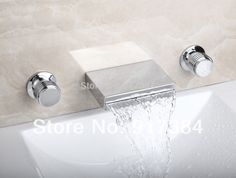 (61.42$)  Buy here - http://aim22.worlditems.win/all/product.php?id=1739952331 - Waterfall  Ceramic  Double Handles Deck Mounted Bathroom Bathtub Basin Sink Mixer Tap 3 pcs Chrome Faucet Set FG-3122