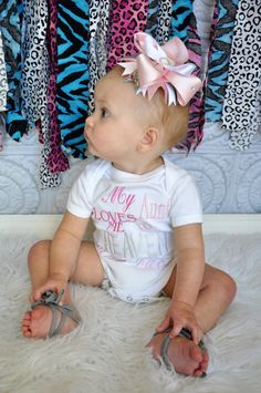 My Aunt Loves Me To Heaven And Back Embroidered Shirt or Onesie with Matching Bow on Etsy, $24.00