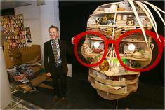 Simon Doonan, the creative director at Barneys with a Warhol window display.