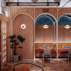 dim sum restaurant in hong kong by linehouse turns british tea hall into chinese canteen Restaurant Booth Seating, Cafe Restaurant, Restaurant Design, Plywood Furniture, Design Furniture, Design Café, Cafe Design, Architecture Restaurant, Architecture Design