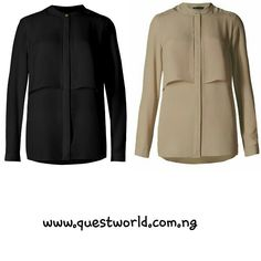 Loose fit no peep flap front shirt black size 6 20 brown size 24 #6000. www.questworld.com.ng Pay on Delivery in Lagos. Nationwide Delivery.