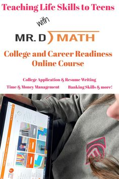 Mr. D Math College & Career Readiness is an online class (live or self-paced) teaching life skills such as time/money management, college application/resume writing, banking skills and more! A Review from Starts At Eight Homeschool High School, Homeschool Curriculum, Homeschooling, Teaching Life Skills, Study Skills, Math Live, Consumer Math, Act Math, Math Courses