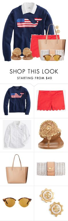 """""""Happy Fourth of July🇺🇸"""" by flroasburn ❤ liked on Polyvore featuring J.Crew, Vineyard Vines, Jack Rogers, Kate Spade, Ray-Ban and Tory Burch"""