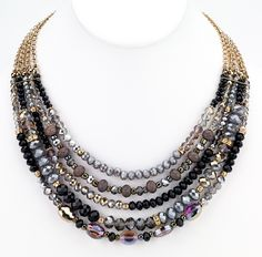 Beaded Glass Statement Necklace - Black | Girl Intuitive