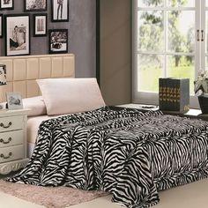 Ben and Jonah Safari Animal Print Zebra Microplush Blanket Color: Black/White, Size: Queen