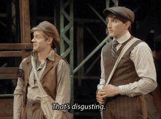 Ben Fankhauser and Andrew Keenan-Bolger (Davy and Crutchie) Broadway Theatre, Musical Theatre, Broadway Shows, Hamilton Musical, Ben Fankhauser, Jack Kelly, Tuck Everlasting, Theatre Nerds, Dear Evan Hansen