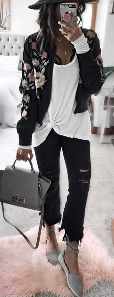 #spring #outfits Black Floral Jacket + White Tank + Black Ripped Denim + Grey Pumps