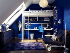 A loft bed frees up space to have for entertaining, relaxing - even studying.