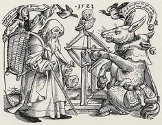 nun spins in basket on the back of a monk [left]; ass winds yarn [right] -- woodcut sheet dated 1523 by Leonhard Beck.
