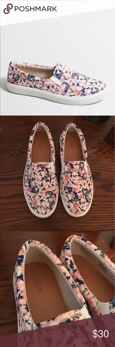 J. Crew Floral Slip-On Sneakers J. Crew floral slip-on sneakers. Really comfortable shoes. Only worn a handful of times so they're in good condition! Size 8. J. Crew Shoes Sneakers