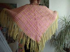 #Vintage #70s Large Pink Lime Yellow #Crochet Fringe Shawl #crocheting #trends2017 #etsy