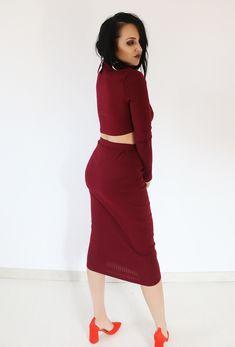 Σετ φούστα με μπλούζα bordo - Δωρεάν Αποστολές BLUSHGREECE Co Ord, High Neck Dress, Dresses, Fashion, Turtleneck Dress, Vestidos, Moda, Fashion Styles, Dress