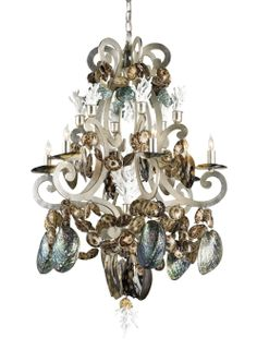 Silvio Sea Shell Chandelier from Currey & Co.  Can you say FABULOUS??  Entry way?