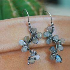 Sterling Silver and Labradorite Blossom Earrings by NeroliHandmade, via Flickr