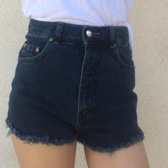 "Super high waisted shorts denim **accepting offers ***Color best matches the last image.****    Americano Reworked High Waisted Cut off Shorts *waist stops at belly button(please check measurement, varies on different people) ****XS(00)Rise:12"", waist:25"" Shorts Jean Shorts"