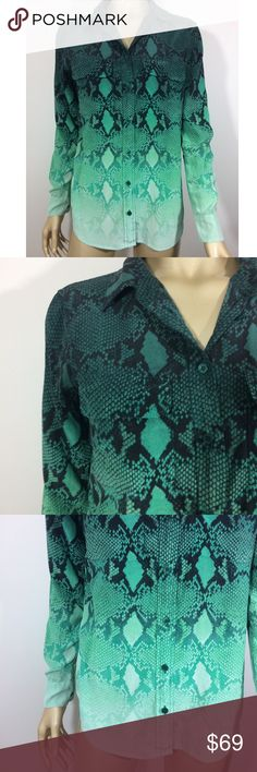 Equipment Femme green Ombré snakeskin Blouse sz XS Equipment Femme Green / turquoise Button down Blouse top size XS in excellent used condition with no holes, rips, stains, or other noticeable wear. Equipment Tops Button Down Shirts