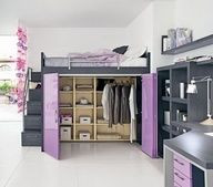 walk-in closet under the bed. stairs, complete with railing, that are also drawers. - boxcase Girls Loft Bed Girls Bedroom Furniture. This would be awesome for my kids rooms!