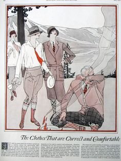 1920s Fashion illustration Camping Sports Outdoor Wear Men Women Vintage 1927 - Two Separate Pages Great to Frame