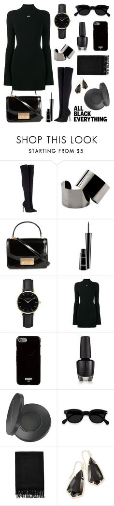 """""""Monochrome: All Black Everything"""" by ames-ym ❤ liked on Polyvore featuring Gianvito Rossi, Maison Margiela, Tory Burch, MAC Cosmetics, ROSEFIELD, Off-White, Givenchy, Youngblood, Kendra Scott and allblack"""