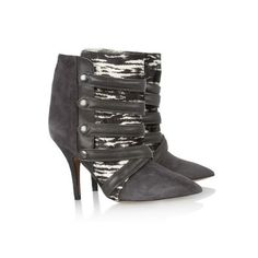 Isabel Marant Boots Tacy Suede, Printed Calf Hair and Leather High-Heeled