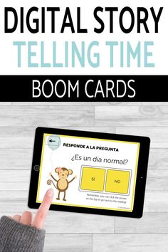 Have you tried BOOM Cards with your students? They're digital and self-checking, which means students get instant feedback, and you don't have to grade! They're self-grading! Your students can read, listen, and write to get practice! This set is perfect for your middle school and high school Spanish classes as they study telling time, el tiempo, or la hora! It's the perfect activity for homework, review, or even formative assessment! Click to see more and to try it out! Telling Time In Spanish, Middle School Spanish, Digital Story, Spanish Lesson Plans, Spanish 1, Formative Assessment, Spanish Classroom, Class Activities, Homework