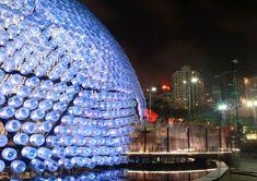 rising moon: lantern pavilion made from recycled water bottles for mid-autumn festival 'lantern wonderland 2013 hong kong- designboom | architecture & design magazine