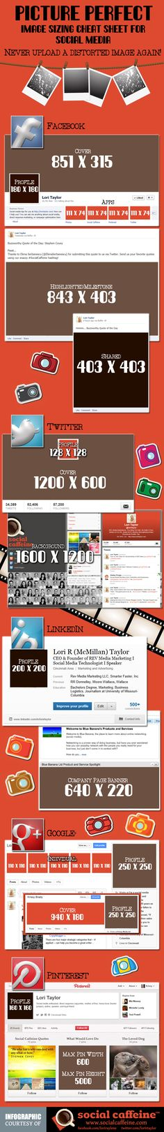 Image Dimension Cheat Sheet for #SocialMedia